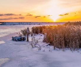 Автомобильный мост на Арабатку зимой