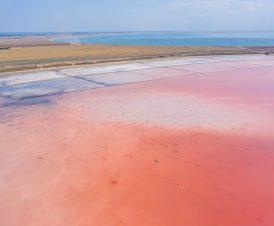 Панорамный вид розового озера